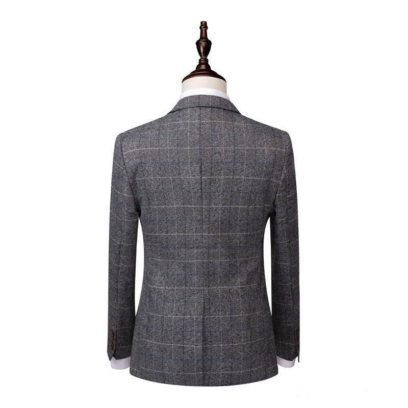 2020 Grey Mens Suits Tweed Wool 3 Piece Notched Lapel Costume Homme Formal Groom Tuxedos Custom Made