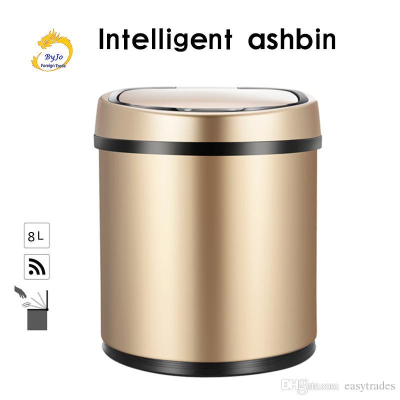 حثي نوع المهملات الذكية الاستشعار الرئيسية الحمام مزبلة التخزين برميل القمامة بن المقاوم للصدأ المعدن القمامة 8l