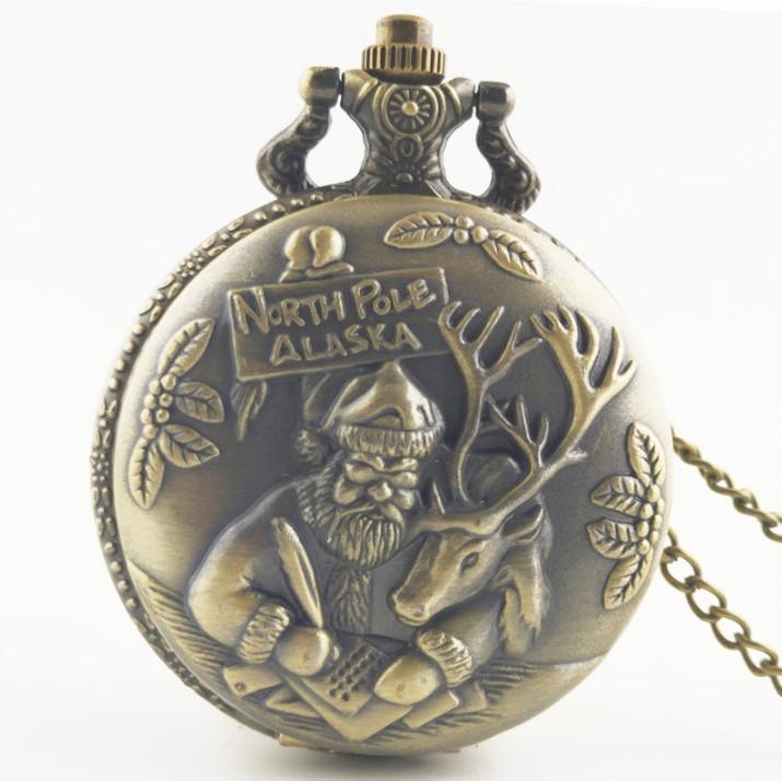 vendita all'ingrosso PASA ALASKA Babbo Natale e renna orologio da tasca al quarzo analogico collana catena mens Womens orologi regalo di Natale