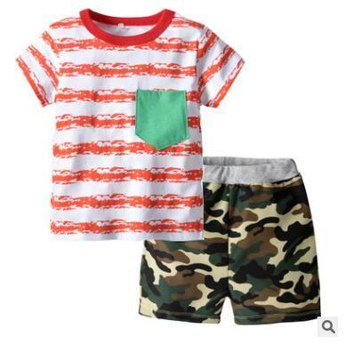 Boys Clothing Set 2019 Summer Short Sleeve Cartoon Striped Kids Boy Clothing Set T-shirt Camouflage Shorts Pants Cotton Boys Clothes 2-6T
