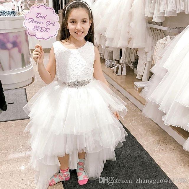 Высокие Низкие Тюль юбки цветка девушки платья Lace Top Tank бальное платье платья для первой евхаристии бисером Талия Brithday партии платья