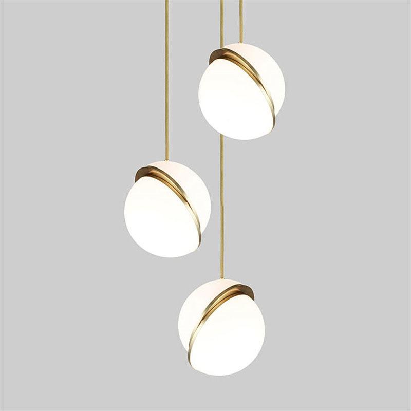 Loft Nordic Post Modern Glass Ball Bubble Led Pendant Light Gold Ring Kitchen Living Room Bedroom Hanging Lamp Fixture