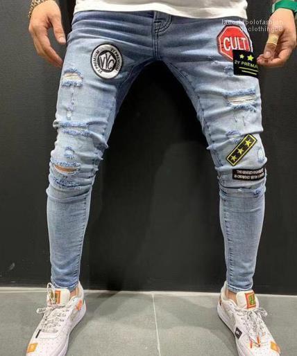 Mens Designer Patches rivestite jeans maschio Stretch Skinny Hole pantaloni della matita di moda Homme Street Style Jeans Uomo Abbigliamento
