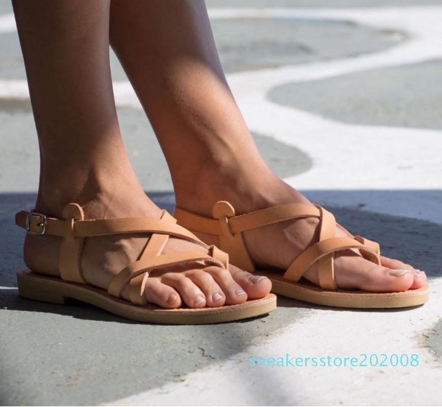 femmes été sandales de plage chaussures femme appartements étudiants gladiator taille plus pantoufle sandalias simples mujer sapato Feminino S08