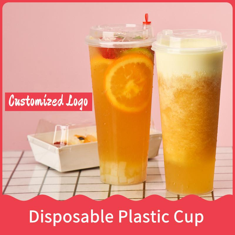 FedEx 24oz Disposable Plastic Juice Cup with Heart Lid Frosted Milk Tea Cups Food Grade PP Beverage Container Thicken Transparent Drinks Mug