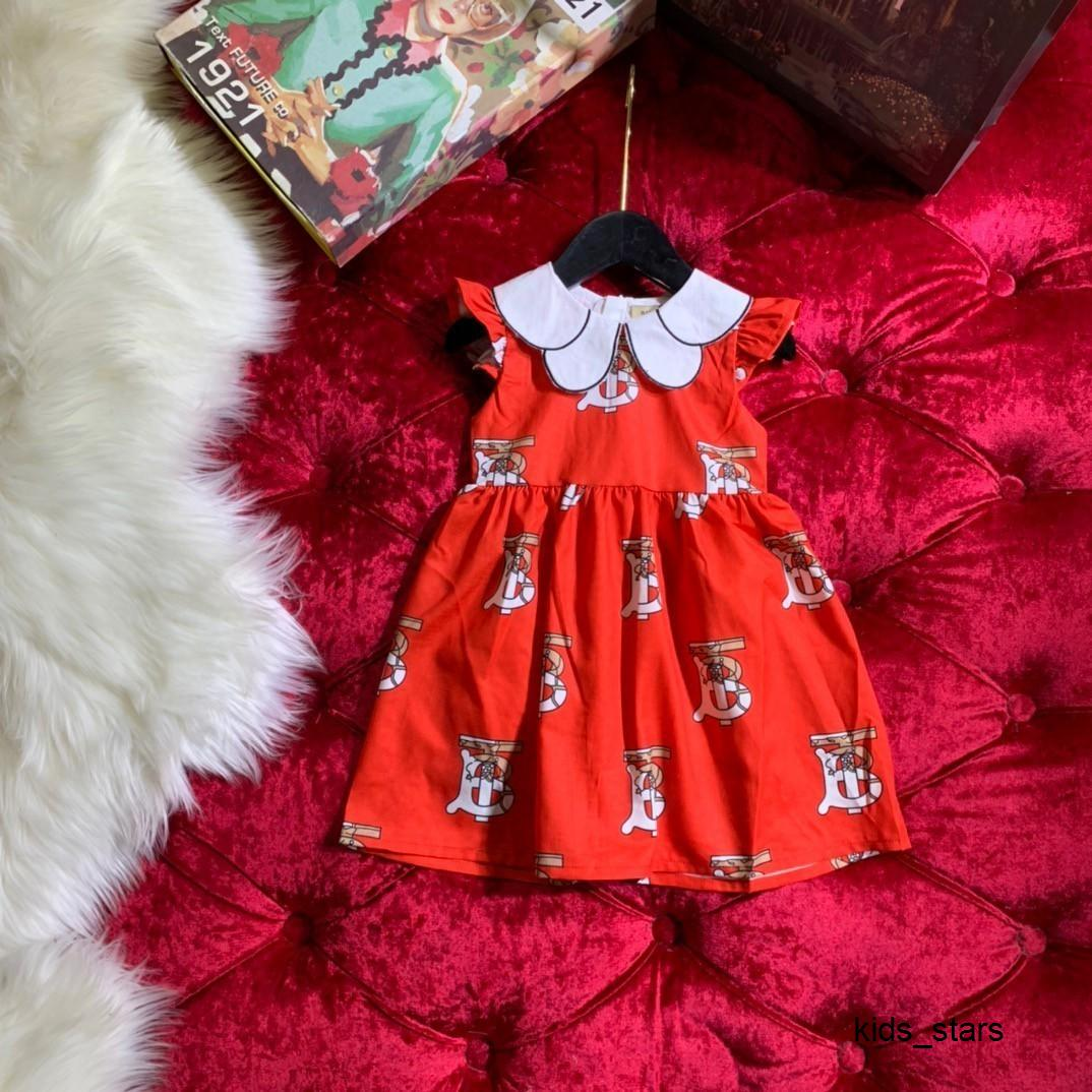 Moda Doce Fresco Crianças Garment Tide versão das meninas Mosca pequena manga de letra impressa vestido 032808