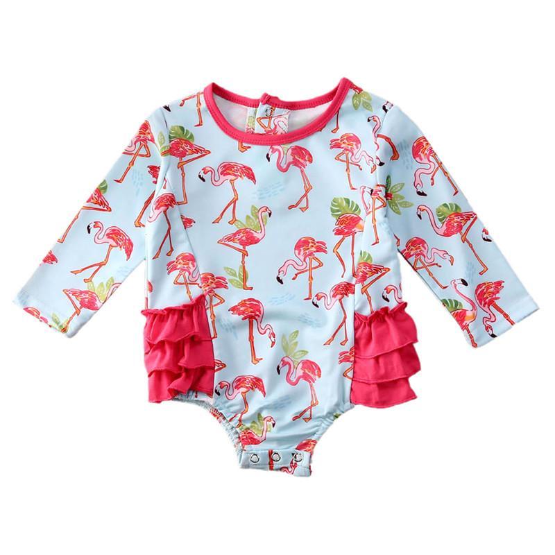 Nette Kinder Bikini 2020 Sommer-Flamingo Drucke Ruffle Badeanzug Beachwear-Schwimmen Badebekleidung für Mädchen Bikini 0-24M