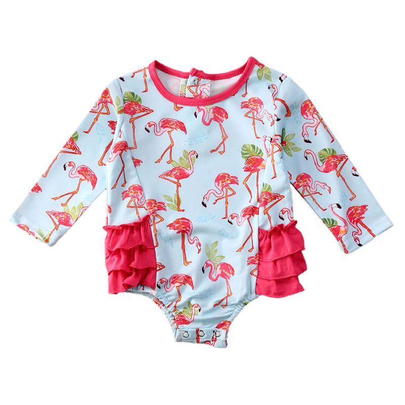 Crianças Biquinis 2020 Verão Flamingo Impressão Ruffle Trajes de banho Beachwear Natação roupa bonito que banha meninas infantil Biquinis 0-24M