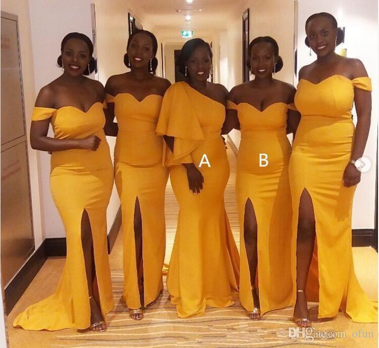 Nuova sirena sexy lunghi abiti da sposa africana fuori dalla spalla Split Satin plus size abiti da damigella d'onore giallo Invitato a un matrimonio abito