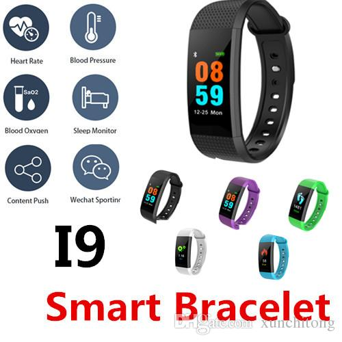 I9 Smart Bracelet Mini TFT color screen Blood Oxygen&Pressure Heart rate Fitness tracker Call WeChat QQ face book Waterproof Bottom touch
