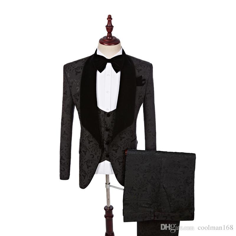 Жаккардовые смокинги Черное свадебное платье для жениха и невесты Бархатный лацкан с пиджаком Ужин 3 шт. (Куртка + брюки + жилет + галстук) 1288