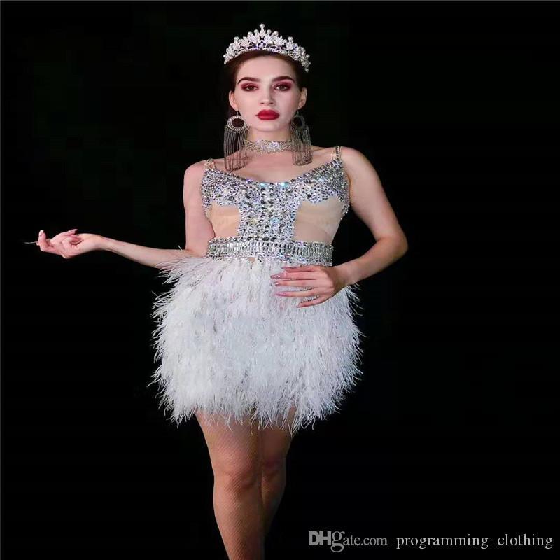 T91 Cantor figurinos de dança rhinestons mulheres de penas vestido branco cristais equipamento sexy um clube vestido peça usa vestir partido ds saia