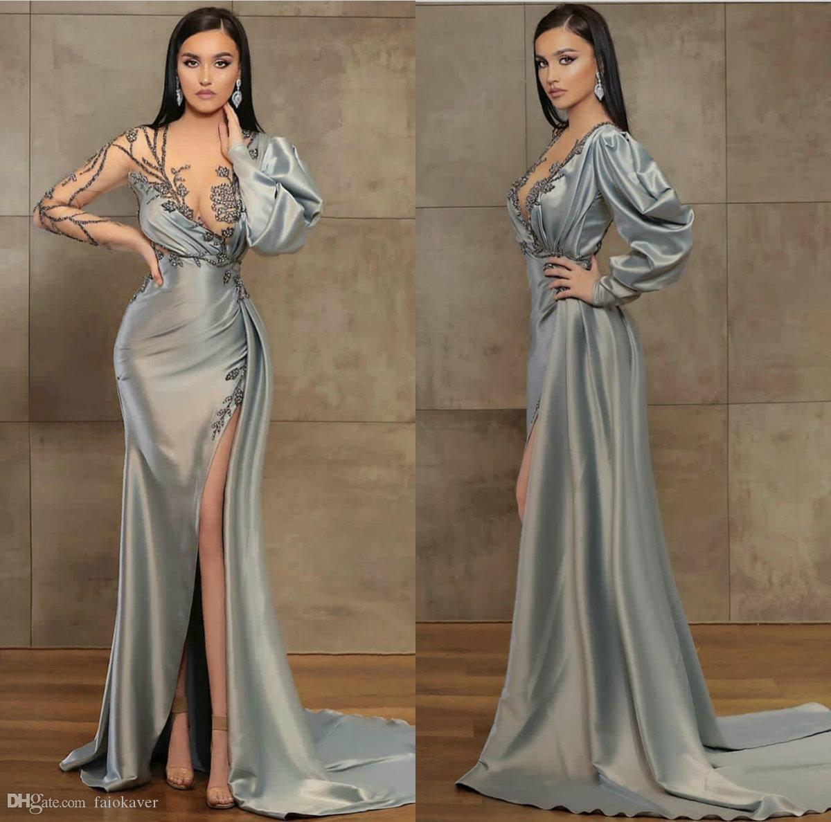 Prom Dress manica sexy degli abiti di sera Con High Side Split raso in rilievo lungo sweep treno su ordine Illusion Robes De Soirée