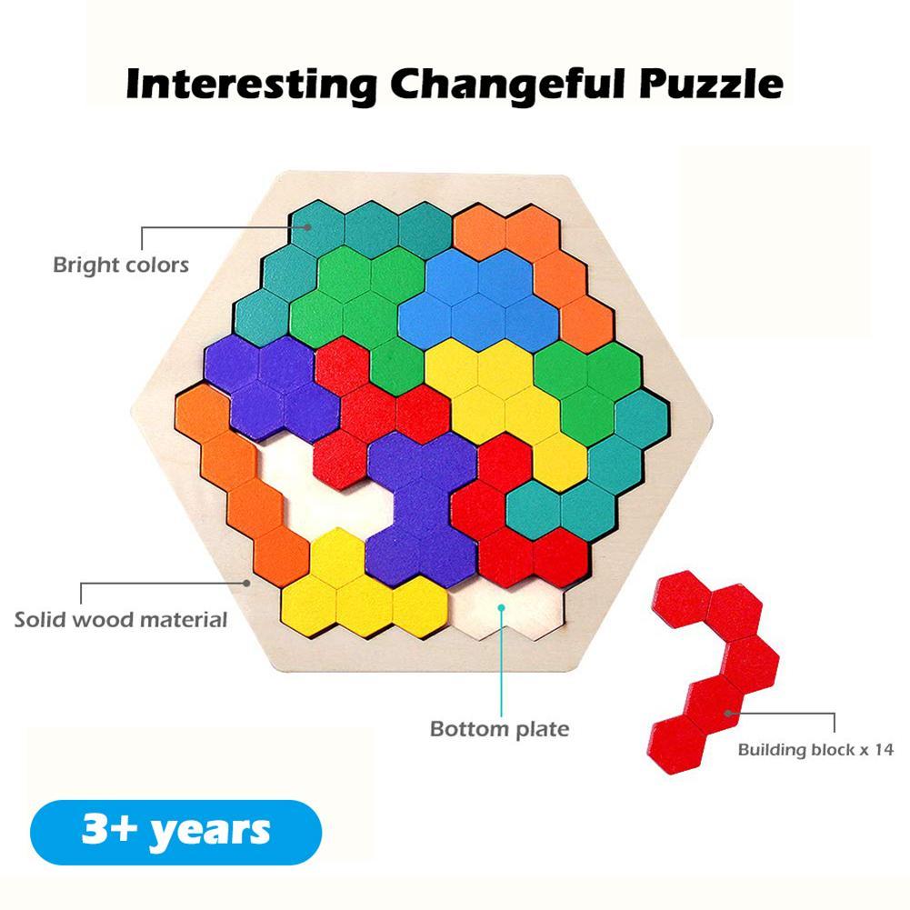 لغز خشبي المخ دعابة لعبة السداسي المرح الهندسة المنطق مثلث لغز المخابرات التعليمية لعبة لعبة أطفال
