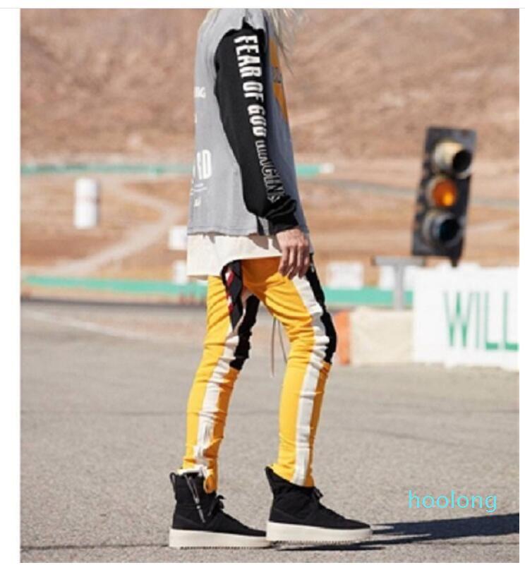 Neue Art-Weinlese-Farben-Block-Patchwork Jogginghose 2018 Männer Hip Hop-Seiten-Reißverschluss beiläufige elastische Taillen-Jogger Hosen Street