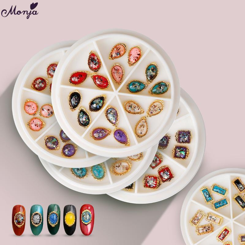 Monja 5Styles Pearl Gem Stone Nail Art Decoration Wheel Flat Back Crystal Shiny jewelry 3D Charm Multicolor Manicure Accessories