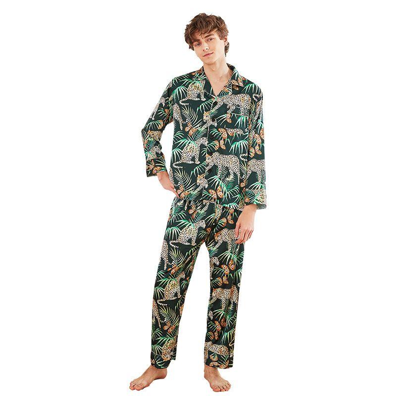 2019 Set da uomo pigiama con pantaloni Stampa floreale pigiama da notte pigiama da notte in pigiama allentato in due pezzi manica lunga