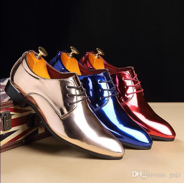Los hombres de moda zapatos de vestir de charol zapatos de punta estrecha primavera verano otoño puntiagudo negocio de la boda Oxford zapato Z228