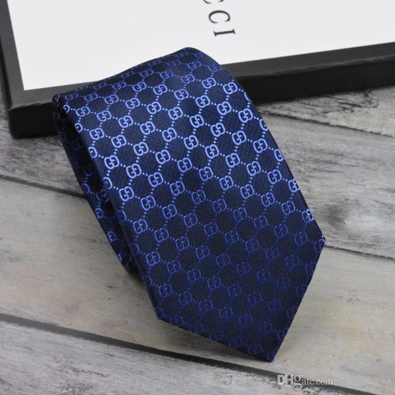 남성 넥타이 새로운 브랜드 남자 패션 문자 넥타이 Hombre Gravata 슬림 타이 클래식 비즈니스 남성 캐주얼 블랙 블루 타이
