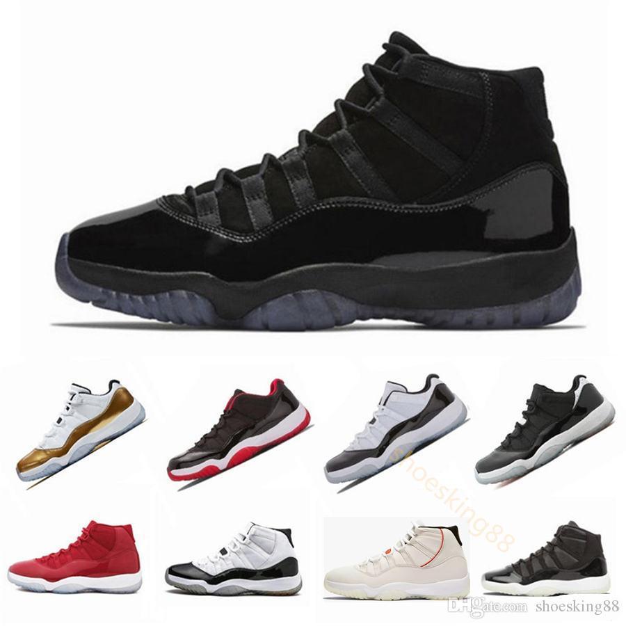 Kappe und des Kleides 11 XI 11s PRM Heiress Schwarz Gym Red Chicago Mitternachts Navy Space Jam Mensbasketballschuhe Sport Sneakers US5.5-13