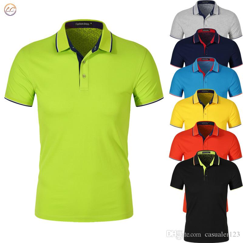 Men's brands Polo Shirts 3D embroidery High Quality Tops&Tees men Polo shirts Business Turn-down collar mens polo shirt 6 colors