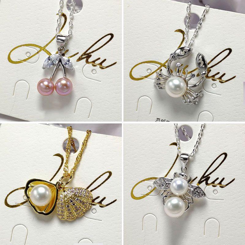 Cadeau bricolage paramètres de collier de perles Sliver Pendentif pour les femmes Handmand 20 styles bricolage collier de perles Paramètres de bijoux avec chaîne