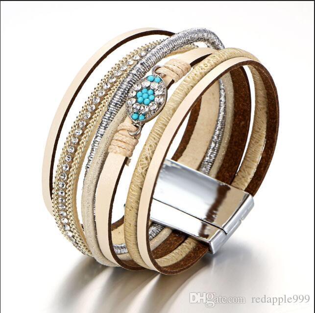 Armband Mehrstöckige Cortex Augen-Armband Strass voll-jewelled 8 Wort-Armband