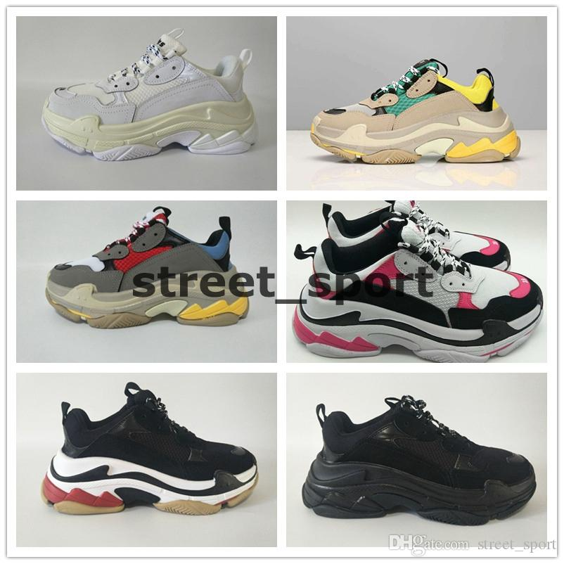 2020 INS Moda de París 17FW Triple S zapatillas de deporte de diseño casual zapatos para hombre del papá para las mujeres Beige Negro Deportes Tenis de los zapatos corrientes 36-45