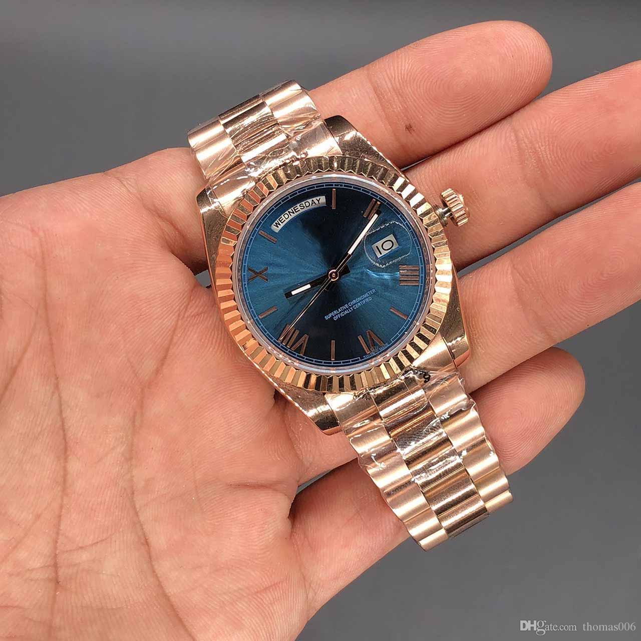 Dia / Data Blue Watch Dial Inoxidável Rose Gold WristWatch Preço Menor Mecânico Relógios Mecânicos Mens Automático 36mm Top LQFTL