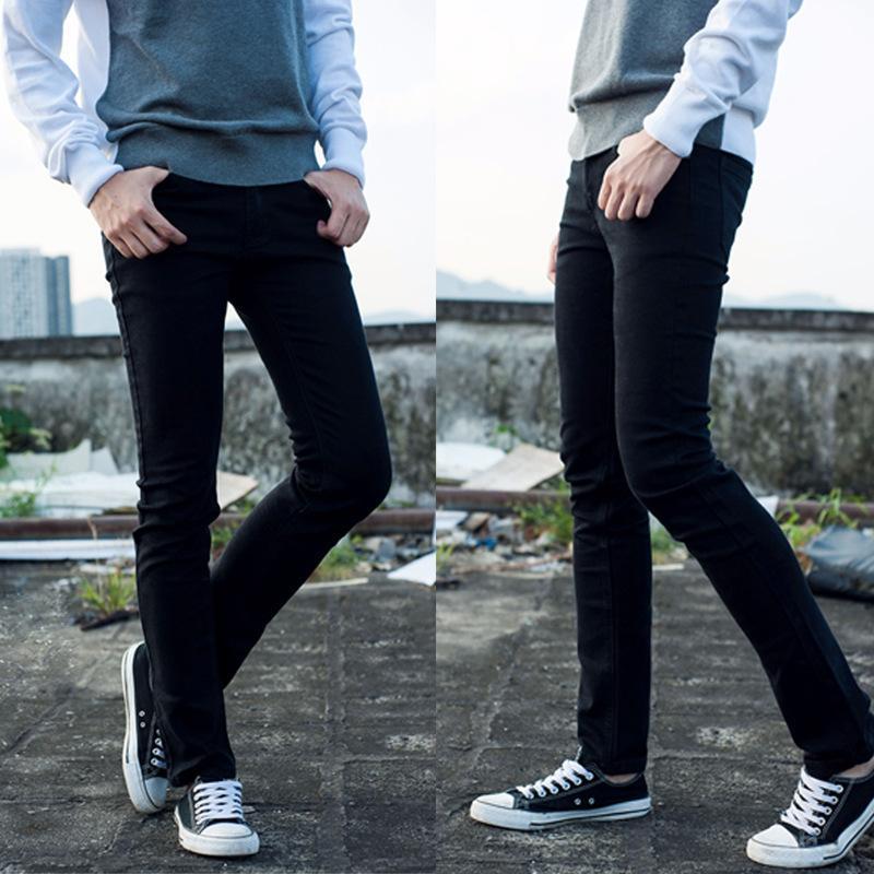 Мужские джинсы 100% хлопок мода растягивающие ноги черные карандашные брюки тонкие подходят брюки мужские