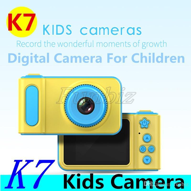 K7 Kids Camera Mini Digital Camera Cute Cartoon Cam Toddler Toys Children Birthday Gift big Screen Cam for take pictures Cheap