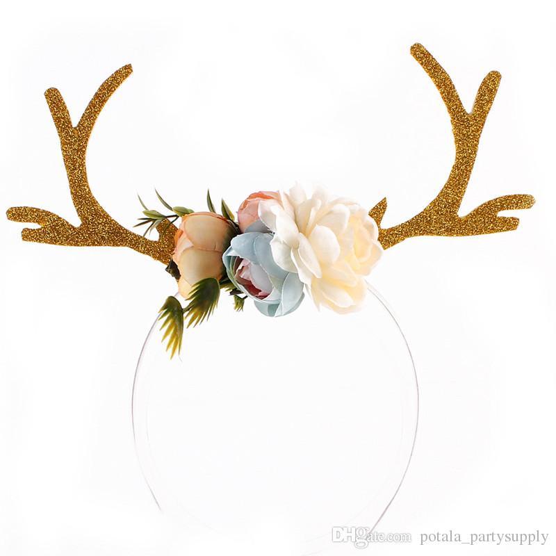 Hot Beautiful Cosplay Deer Antler Head hoop Kid Christmas DIY Khaki Headband