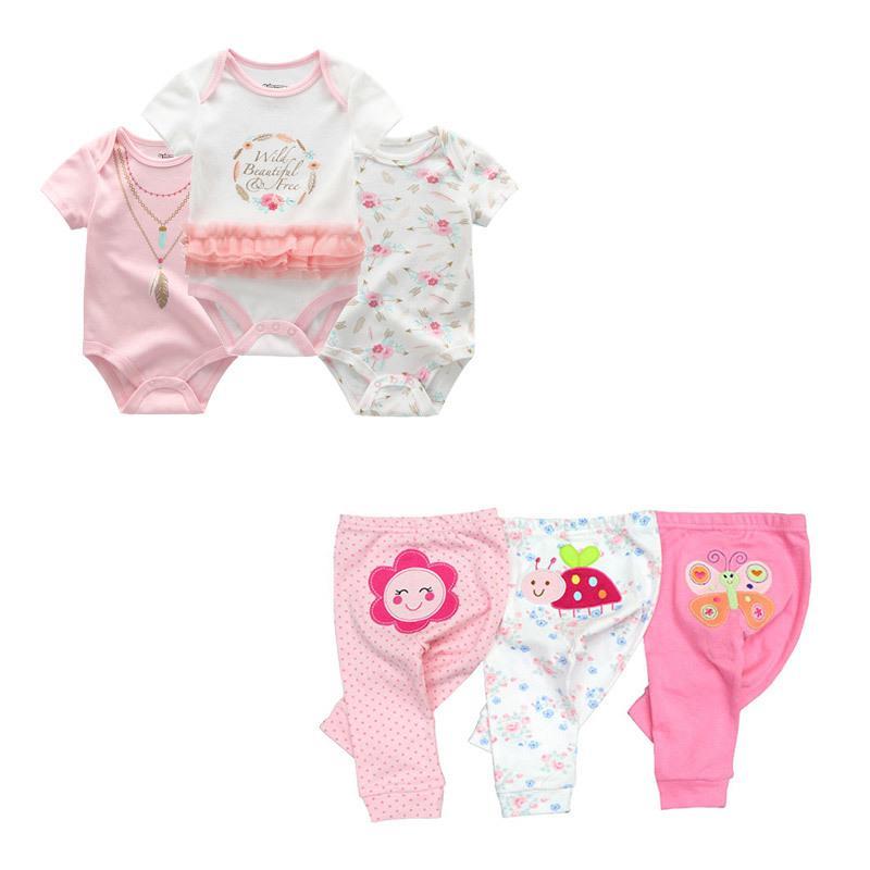 Nette Bodysuits + Hosen Kleidung Sets 0-12m Junge Mädchen Kleidung Unisex Neugeborene Baby Baumwolle ROUPA DE BEBE Y200807