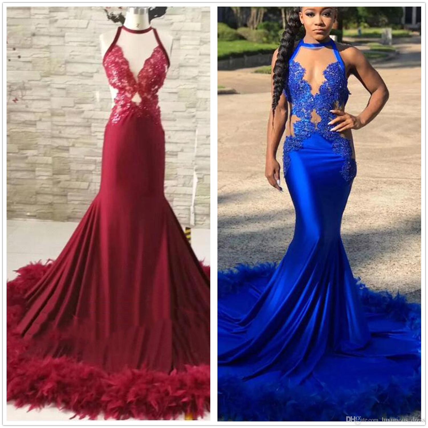 Royal Blue Halter Fitted Long Feather Prom Dress 2019 Luxury African Women Evening Gown paolo sebastian prom dresses robe de soiree