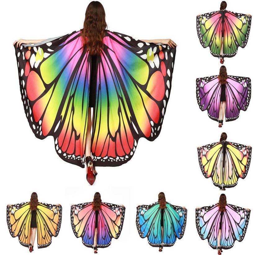 En Çok Satan SICAK Kadınlar Kelebek kanatları Şal Şal Eşarp perisi Pixie Panço Yumuşak Kumaş Cloak Şık Son Moda Kostüm Aksesuar 70925