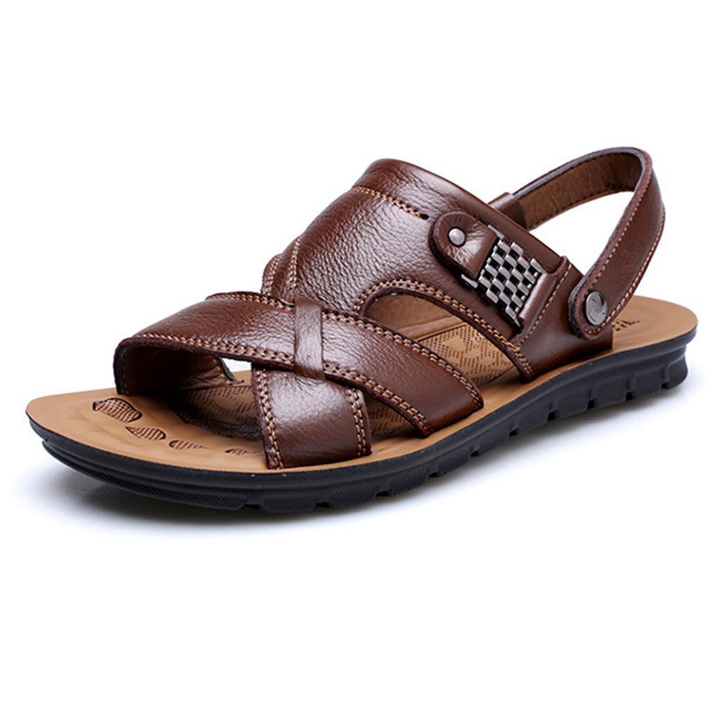 Sandalen Männer Schuhe 2019 Herrenmode atmungsaktiv Sommer-Schuh-Leder-Sandelholz-Schuhe Slides Outdoor-Hausschuhe weiche Sandalen