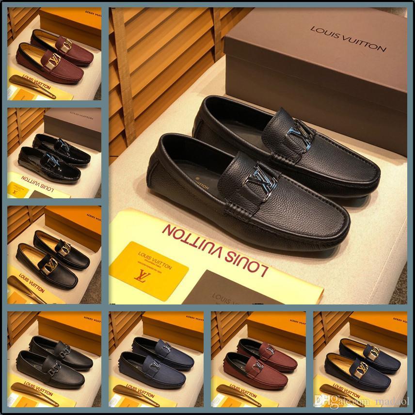 19FF boyutu 38-46 hakiki deri ayakkabı erkekler nefes moda chaussures hommes en cuir erkek ayakkabı lüks markalar makosenler Sepatu pria