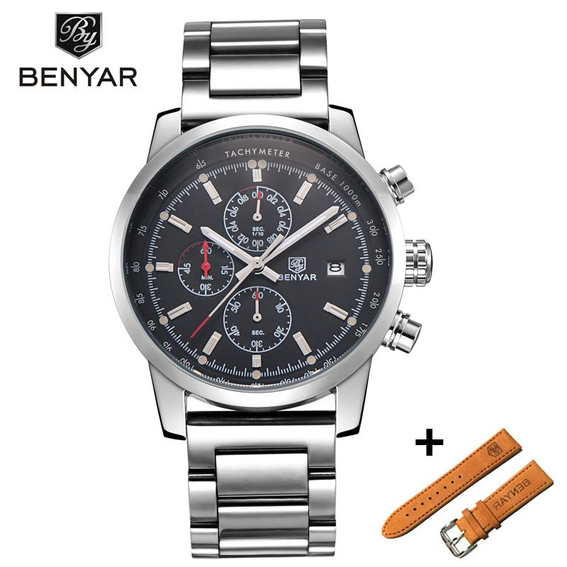Benyar Men Watch Set Top Brand Luxury Male Leather Quartz Chronograph Military Waterproof Wrist Watch Men Sport Clock relojes