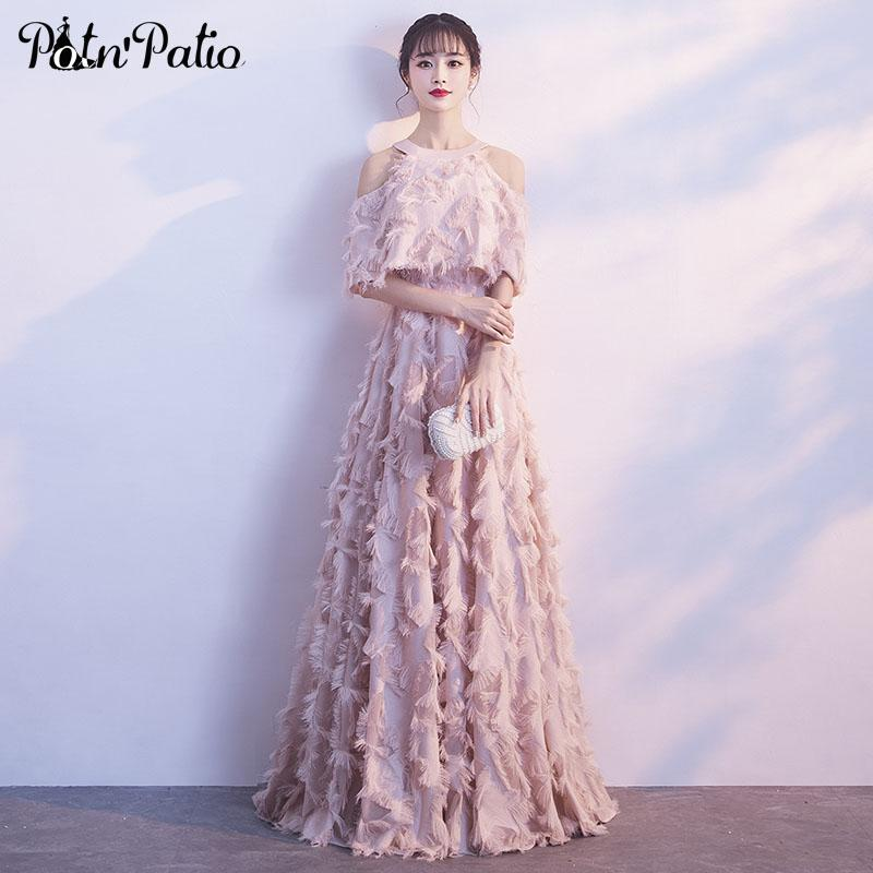 Elegant Pink Evening Dress with Jacket Halter Off Shoulder Feather Long Formal Dress Luxury Special Occasion Dresses Plus Size