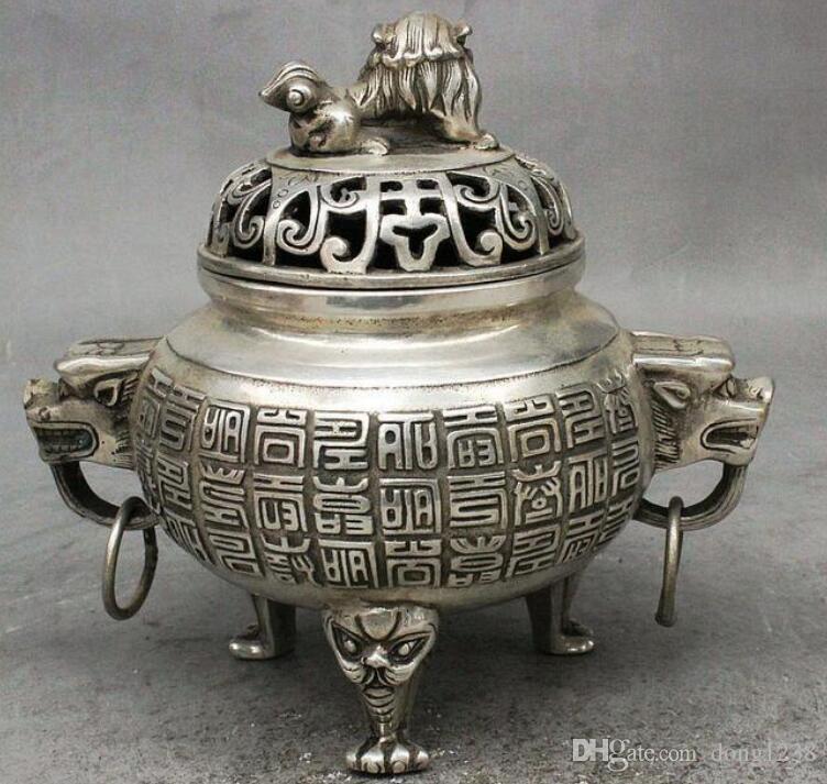 Folk China Chinese Bronze Buddhism Dragon Lion Head Statue Incense Burner Censer