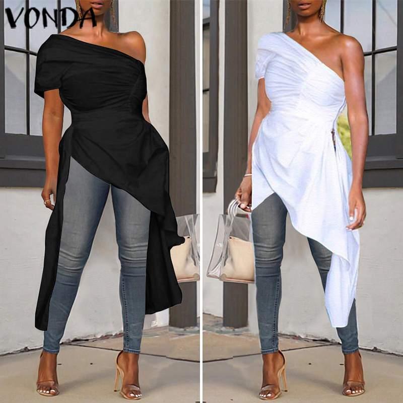 VONDA Retro Blouses 2019 femmes Asymétrique Sexy Encolure Casual Tops en vrac Zip Side Party Shirts 5XL Bohême blusas