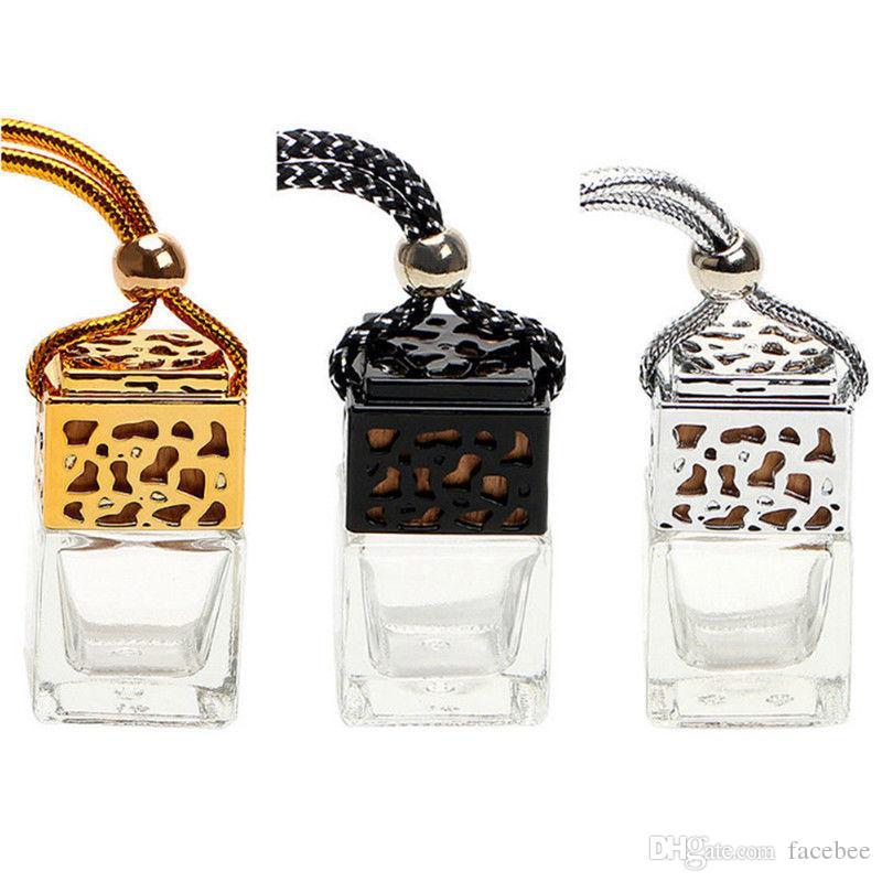 Frascos De Perfume De Vidro Quadrado Carro Perfume Pingente 6 ml Perfume Vazio Carro Pendurado Difusor Garrafa zzh