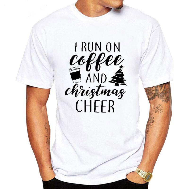 LUSLOS Mens Weihnachten T-Shirt Weiß-Rundhalsausschnitt Buchstabe-Druck-T-Shirt Lustiges T-Shirt Mann Harajuku Street T Top camiseta hombre