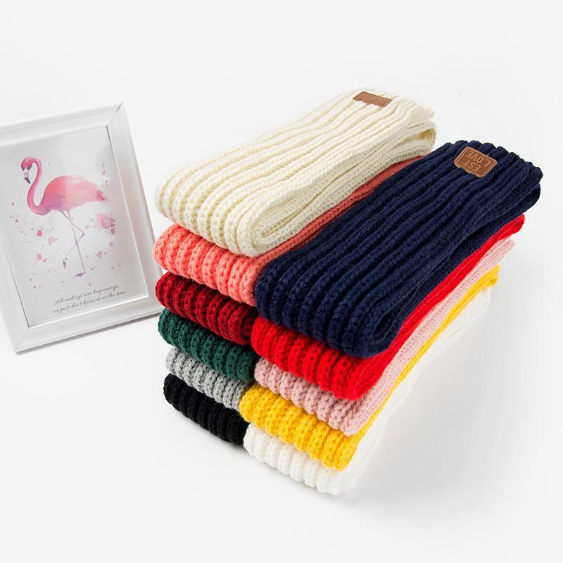 2019 Fashion Lovely Kids Boys Girls Autumn Winter Spring Scarf Pompom Baby Scarf Warm Neck Warmer Scarves Knitting Neck Scarf T200609