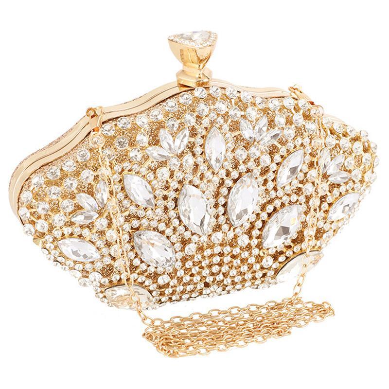 Cadena de boda del satén del fushia femenino del bolso de embrague de oro del partido Rhinestone cristalino del bolso de tarde del bolso del monedero caja Lad los embragues del día