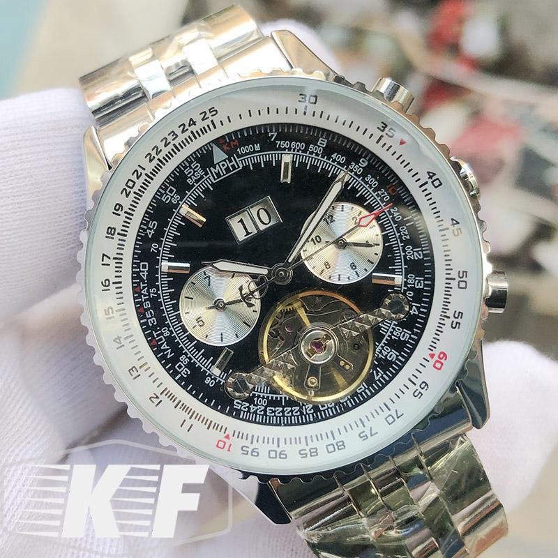 Mode Staiinless acier luxe Date Hommes seulement Homme mécanique automatique concepteur de mouvement Montre Montres-bracelets montres à remontage manuel
