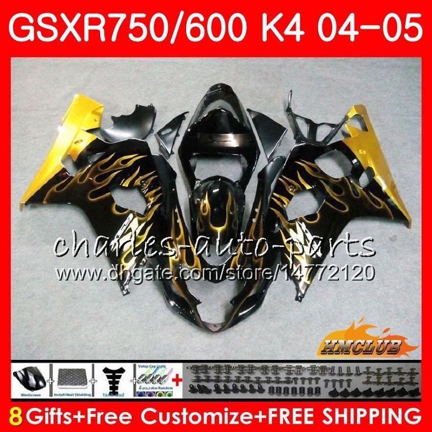 BODY DO SUZUKI GSXR 750 GSX R600 R750 GSXR600 2004 2005 7HC.55 GSXR 600 GSXR-750 04 05 GSX-R600 K4 GSXR750 04 05 Złote płomieni