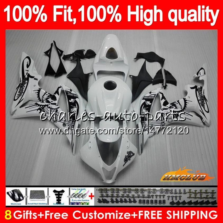 Injeção corpo para HONDA venda quente branco CBR600F5 CBR600RR CBR 600F5 67HC.17 CBR600 CBR 600 RR CC 600RR 600cc F5 2007 2008 07 08 OEM Fairing