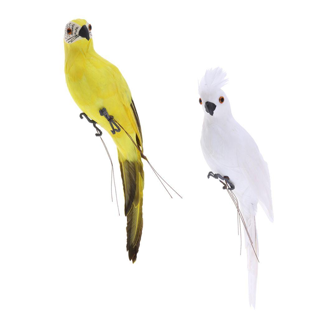 2xRealistic pappagallo piuma artificiale Uccello animale Ornamento Bianco Giallo