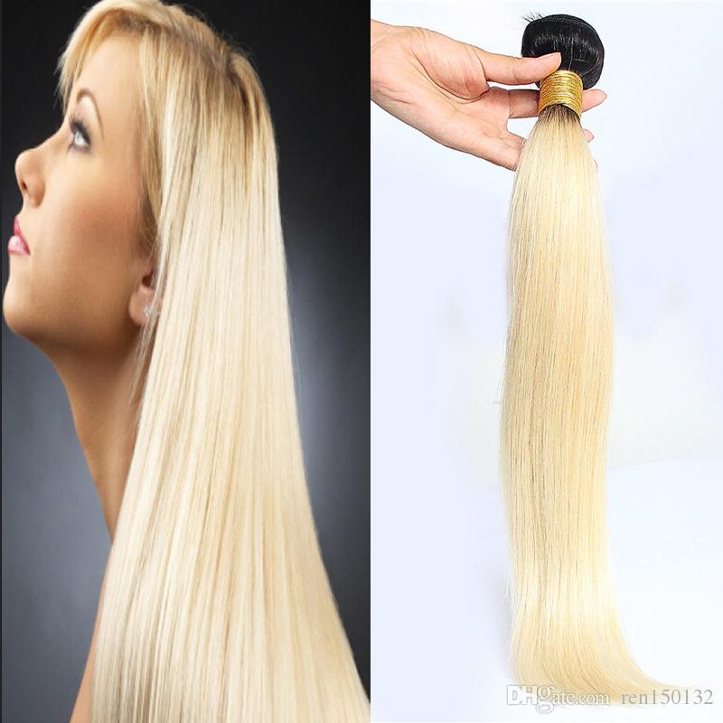 """Human Pacotes Cabelo 1PC ombre cabelo humano virgem extensões de cabelo peruano 100g 8 """"- 32"""" trama dupla, nenhum derramamento, emaranhado livre"""